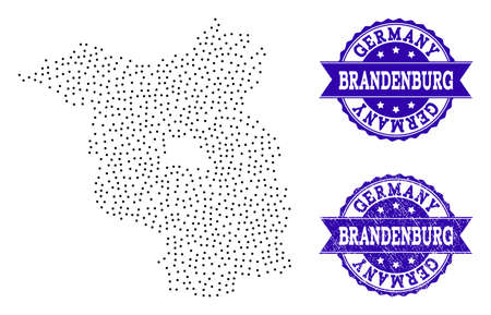 Dotted black map of Brandenburg State and blue scratched seal stamp. Vector map of Brandenburg State designed with irregular small circle points. Vector blue seal with scratched rubber texture.