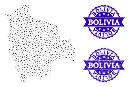 Dotted black map of Bolivia and blue rubber stamp. Vector map of Bolivia designed with irregular small spheric points. Vector blue seal with corroded rubber texture. Ilustrace