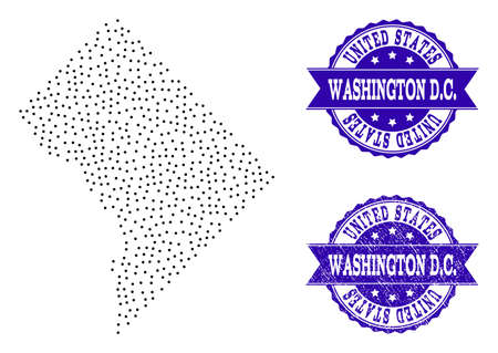 Dotted black map of District Columbia and blue corroded stamp. Vector map of District Columbia constructed with irregular small round points. Vector blue seal with corroded rubber texture. Illustration