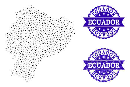 Dotted black map of Ecuador and blue rubber seal. Vector map of Ecuador constructed with irregular small spheric dots. Vector blue seal with scratched rubber texture. Ilustração