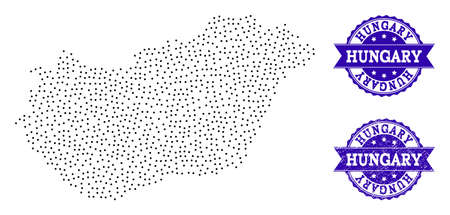 Dotted black map of Hungary and blue rubber seal stamp. Vector map of Hungary designed with irregular small circle dots. Vector blue seal with scratched rubber texture. Ilustração