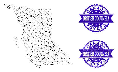 Dotted black map of British Columbia Province and blue corroded seal. Vector map of British Columbia Province designed with irregular small round dots. Vector blue seal with grunge rubber texture.