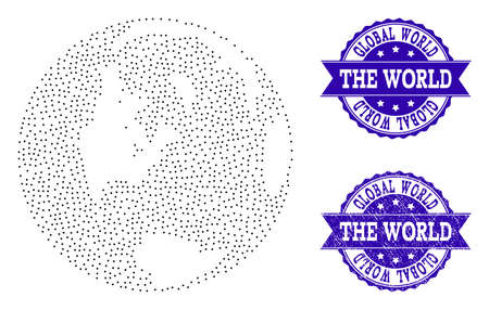 Dotted black map of global world and blue rubber seal stamp. Vector map of global world designed with irregular small spheric points. Vector blue seal with grunge rubber texture.
