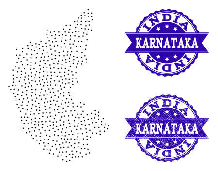 Dotted black map of Karnataka State and blue corroded seal. Vector map of Karnataka State designed with irregular small circle dots. Vector blue seal with grunge rubber texture. Illustration