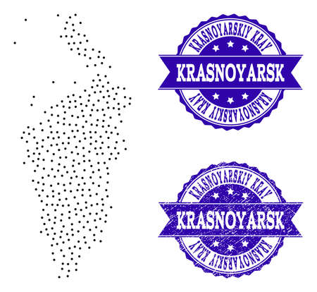Dotted black map of Krasnoyarskiy Kray and blue rubber seal. Vector map of Krasnoyarskiy Kray designed with irregular small spheric dots. Vector blue imprint with unclean rubber texture.