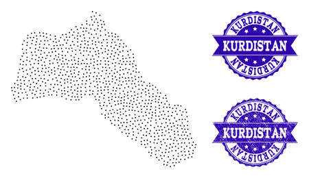 Dotted black map of Kurdistan and blue scratched seal. Vector map of Kurdistan constructed with irregular small spheric points. Vector blue seal with corroded rubber texture.