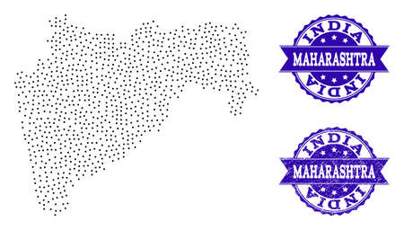 Dotted black map of Maharashtra State and blue rubber seal stamp. Vector map of Maharashtra State constructed with irregular small round points. Vector blue seal with unclean rubber texture.