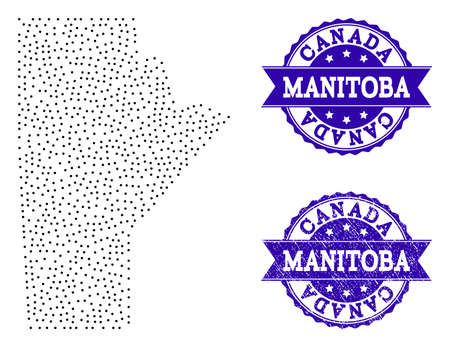 Dotted black map of Manitoba Province and blue unclean seal stamp. Vector map of Manitoba Province constructed with irregular small circle points. Vector blue watermark with unclean rubber texture. Illustration