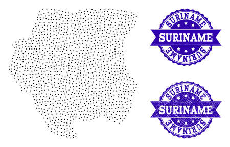Dotted black map of Suriname and blue rubber seal. Vector map of Suriname constructed with irregular small circle dots. Vector blue seal with scratched rubber texture. Stock Illustratie