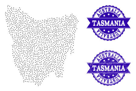 Dotted black map of Tasmania Island and blue textured seal stamp. Vector map of Tasmania Island designed with irregular small spheric dots. Vector blue seal with scratched rubber texture.