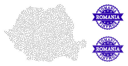 Dotted black map of Romania and blue scratched seal. Vector map of Romania constructed with irregular small circle dots. Vector blue seal with scratched rubber texture. Ilustração