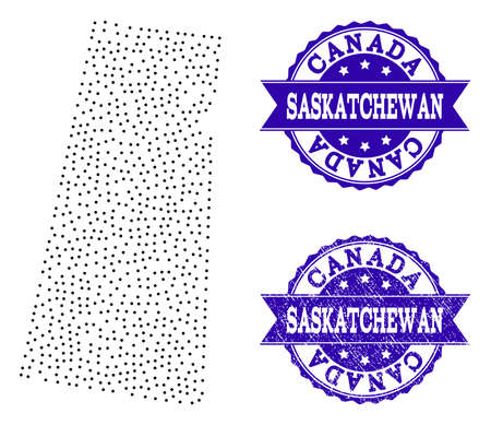 Dotted black map of Saskatchewan Province and blue unclean seal stamp. Vector map of Saskatchewan Province designed with irregular small spheric dots. Vector blue seal with scratched rubber texture.