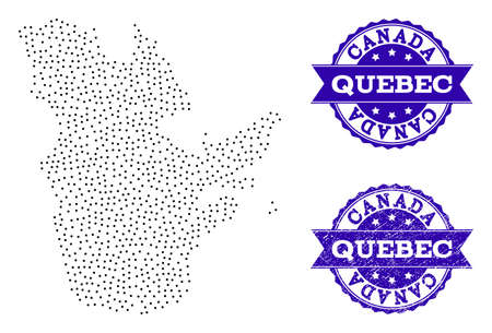 Dotted black map of Quebec Province and blue rubber seal stamp. Vector map of Quebec Province constructed with irregular small round points. Vector blue imprint with scratched rubber texture.