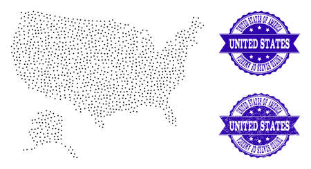 Dotted black map of USA and Alaska and blue grunge seal. Vector map of USA and Alaska constructed with irregular small circle dots. Vector blue seal with grunge rubber texture.