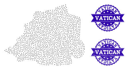 Dotted black map of Vatican and blue rubber seal stamp. Vector map of Vatican constructed with irregular small spheric dots. Vector blue seal with distress rubber texture.