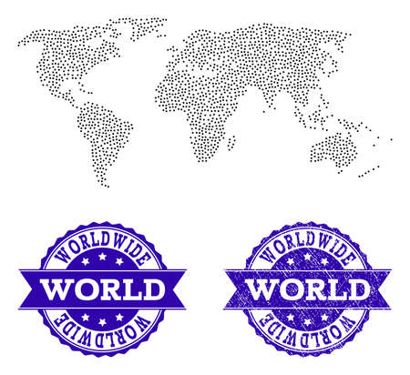Dotted black map of world and blue rubber seal stamp. Vector map of world constructed with irregular small spheric dots. Vector blue seal with scratched rubber texture.