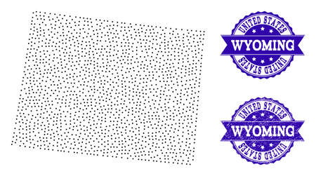 Dotted black map of Wyoming State and blue grunge seal. Vector map of Wyoming State designed with irregular small round points. Vector blue imprint with grunge rubber texture. 일러스트