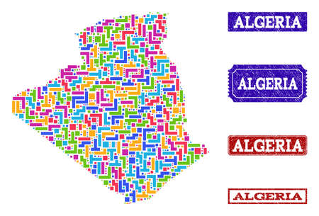 Mosaic tetris style map of Algeria and scratched rectangle seals. Vector map of Algeria constructed with colorful tetris elements. Vector seals with scratched rubber texture.