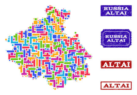 Mosaic tetris style map of Altai Republic and rubber rectangle seals. Vector map of Altai Republic designed with colorful tetris elements. Vector seals with grunge rubber texture.