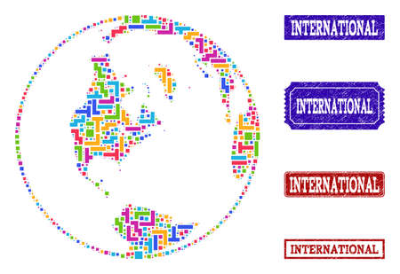 Mosaic tetris style global map of world and corroded rectangle seal stamps. Vector global map of world designed with bright colored tetris blocks. Vector watermarks with scratched rubber texture.