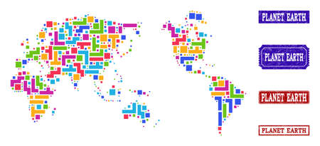 Mosaic tetris style map of Earth and grunge rectangle seals. Vector map of Earth designed with bright colored tetris blocks. Vector seals with grunge rubber texture.