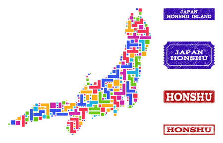 Mosaic tetris style map of Honshu Island and grunge rectangle stamps. Vector map of Honshu Island designed with colorful tetris blocks. Vector seals with grunge rubber texture. Illustration