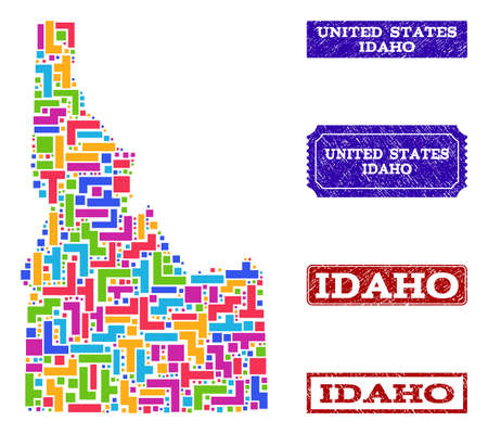 Mosaic tetris style map of Idaho State and scratched rectangle seal stamps. Vector map of Idaho State constructed with colorful tetris blocks. Vector watermarks with scratched rubber texture.