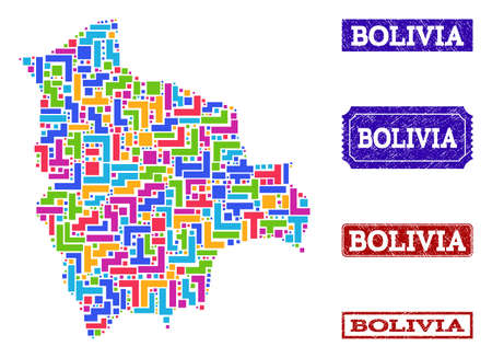 Mosaic tetris style map of Bolivia and textured rectangle seals. Vector map of Bolivia constructed with colorful tetris elements. Vector seals with corroded rubber texture. Ilustrace
