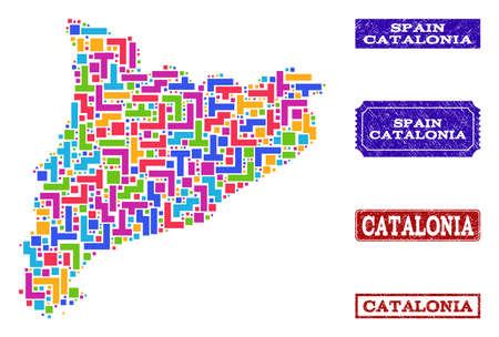Mosaic tetris style map of Catalonia and rubber rectangle seal stamps. Vector map of Catalonia designed with colorful tetris elements. Vector seals with unclean rubber texture.