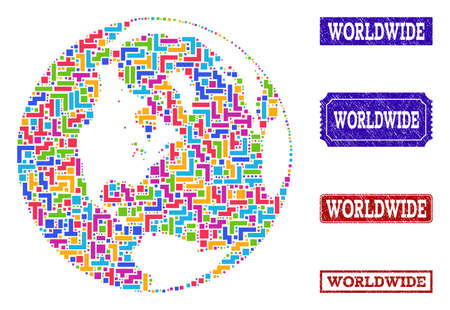 Mosaic tetris style map of global world and scratched rectangle stamps. Vector map of global world constructed with colorful tetris blocks. Vector watermarks with scratched rubber texture. Stock Illustratie