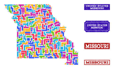 Mosaic tetris style map of Missouri State and scratched rectangle seals. Vector map of Missouri State constructed with bright colored tetris blocks. Vector seals with scratched rubber texture.