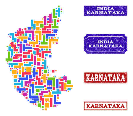 Mosaic tetris style map of Karnataka State and corroded rectangle seals. Vector map of Karnataka State designed with bright colored tetris blocks. Vector seals with corroded rubber texture. Stock Vector - 128559297