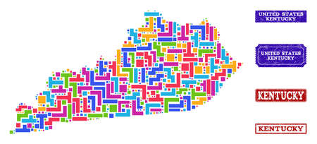 Mosaic tetris style map of Kentucky State and rubber rectangle seals. Vector map of Kentucky State constructed with colorful tetris elements. Vector seals with scratched rubber texture.