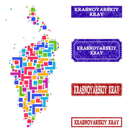 Mosaic tetris style map of Krasnoyarskiy Kray and rubber rectangle seals. Vector map of Krasnoyarskiy Kray designed with colorful tetris blocks. Vector seals with grunge rubber texture.