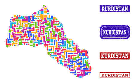 Mosaic tetris style map of Kurdistan and rubber rectangle stamps. Vector map of Kurdistan constructed with bright colored tetris blocks. Vector seals with grunge rubber texture.