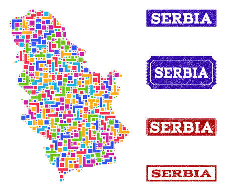 Mosaic tetris style map of Serbia and rubber rectangle seal stamps. Vector map of Serbia constructed with bright colored tetris elements. Vector seals with scratched rubber texture. Ilustração