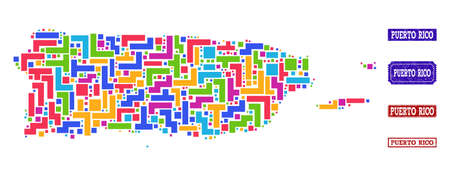 Mosaic tetris style map of Puerto Rico and rubber rectangle stamps. Vector map of Puerto Rico designed with colorful tetris elements. Vector seals with distress rubber texture.