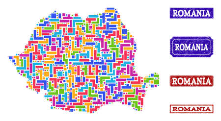 Mosaic tetris style map of Romania and unclean rectangle seals. Vector map of Romania constructed with bright colored tetris blocks. Vector seals with unclean rubber texture.