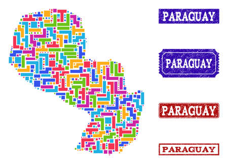 Mosaic tetris style map of Paraguay and rubber rectangle seal stamps. Vector map of Paraguay constructed with colorful tetris elements. Vector seals with corroded rubber texture.