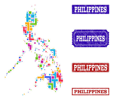 Mosaic tetris style map of Philippines and unclean rectangle stamps. Vector map of Philippines constructed with bright colored tetris blocks. Vector seals with unclean rubber texture.