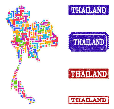 Mosaic tetris style map of Thailand and rubber rectangle stamps. Vector map of Thailand designed with colorful tetris elements. Vector watermarks with distress rubber texture.