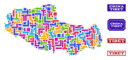 Mosaic tetris style map of Tibet and rubber rectangle seals. Vector map of Tibet designed with colorful tetris elements. Vector seals with distress rubber texture. Flat design for political templates. Illustration