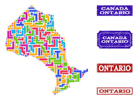 Mosaic tetris style map of Ontario Province and scratched rectangle seals. Vector map of Ontario Province designed with colorful tetris blocks. Vector imprints with scratched rubber texture.