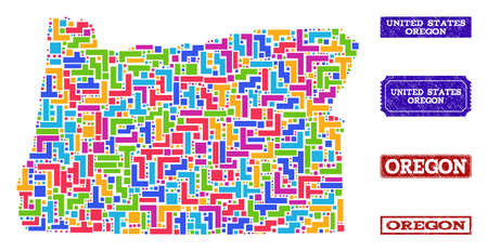 Mosaic tetris style map of Oregon State and scratched rectangle seals. Vector map of Oregon State constructed with colorful tetris elements. Vector seals with unclean rubber texture.