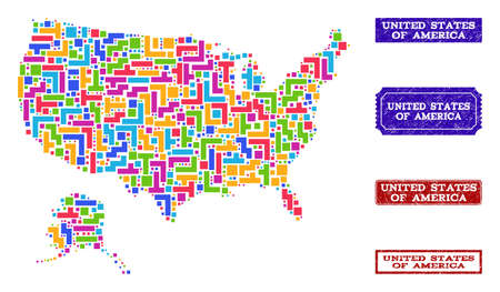 Mosaic tetris style map of USA and Alaska and unclean rectangle seals. Vector map of USA and Alaska designed with bright colored tetris elements. Vector seals with unclean rubber texture.