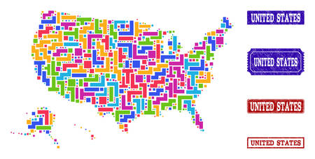 Mosaic tetris style map of USA territories and grunge rectangle seals. Vector map of USA territories constructed with colorful tetris elements. Vector seals with unclean rubber texture. Иллюстрация
