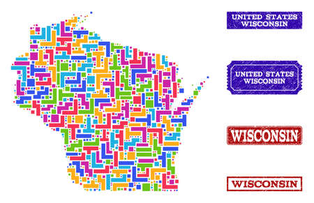 Mosaic tetris style map of Wisconsin State and unclean rectangle seal stamps. Vector map of Wisconsin State constructed with colorful tetris elements. Vector watermarks with unclean rubber texture.