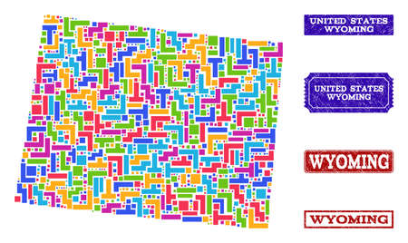 Mosaic tetris style map of Wyoming State and grunge rectangle seals. Vector map of Wyoming State designed with bright colored tetris blocks. Vector seals with grunge rubber texture.
