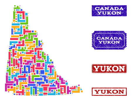 Mosaic tetris style map of Yukon Province and corroded rectangle seal stamps. Vector map of Yukon Province designed with colorful tetris elements. Vector watermarks with corroded rubber texture.