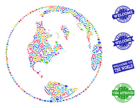 Welcome collage of mosaic global map of world and corroded seal stamps. Vector greeting watermarks with corroded rubber texture. Welcome flat design for tourist greetings templates.